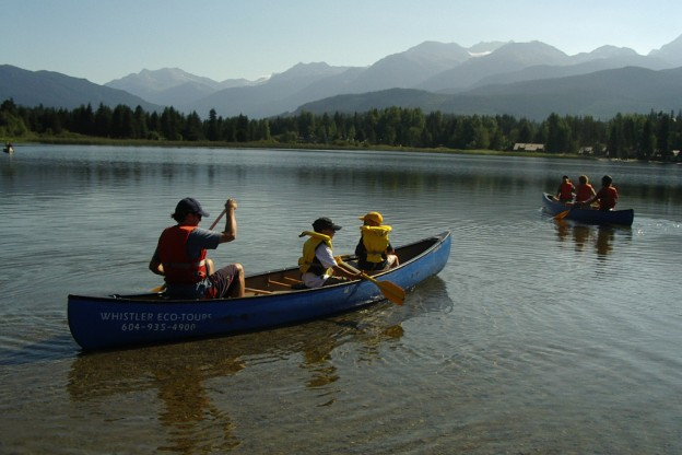 Guests paddling on the river