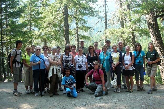 A walking and hiking tour group photo